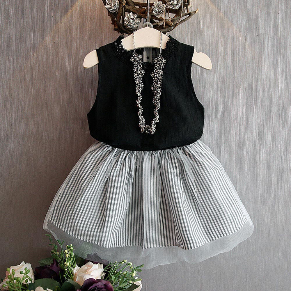 Sleeveless black Blouse + Skirt Set  for Girls