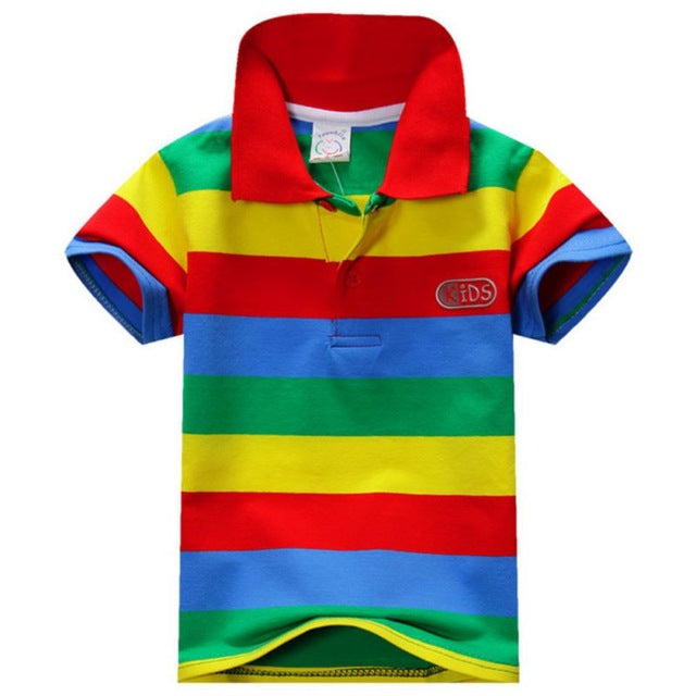Boys Cotton Striped Polo-Shirt Red