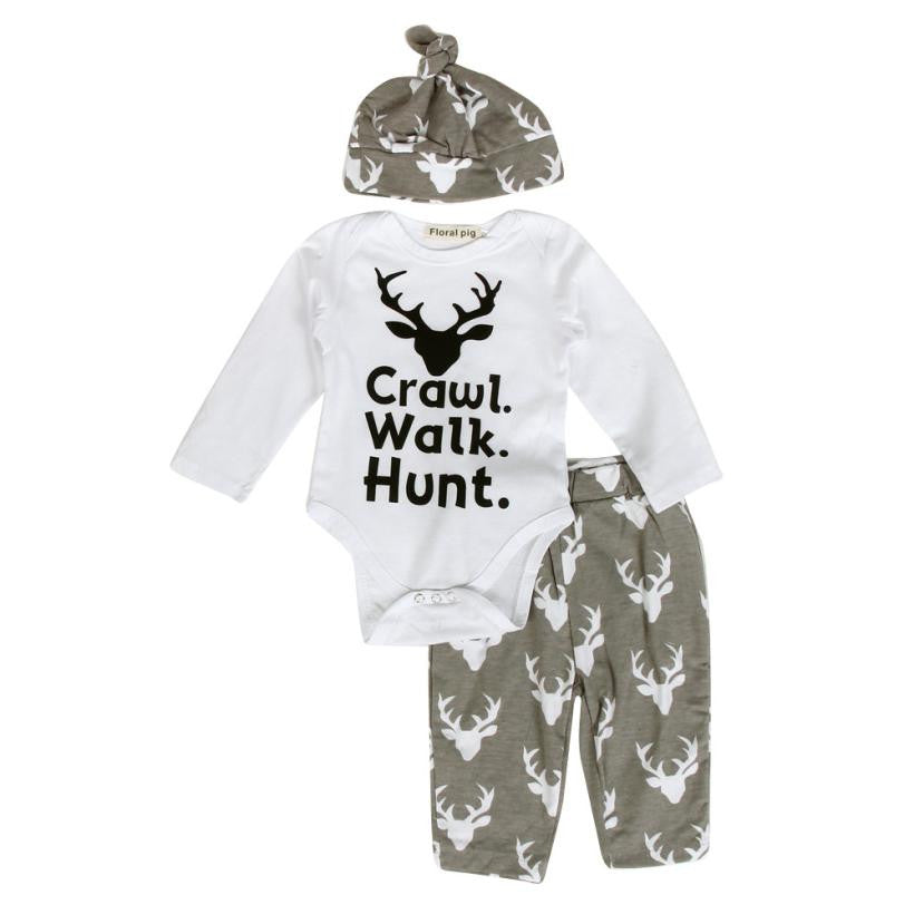 Deer Print Set : White Long-Sleeve Onesei +Gray Long Pants + Gray Hat