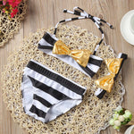 Golden Bow Swimwear with Headband for Girls