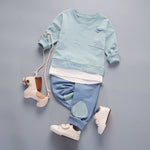 Cool Long Sleeve Solid Shirt + Patchwork Pants For Boys