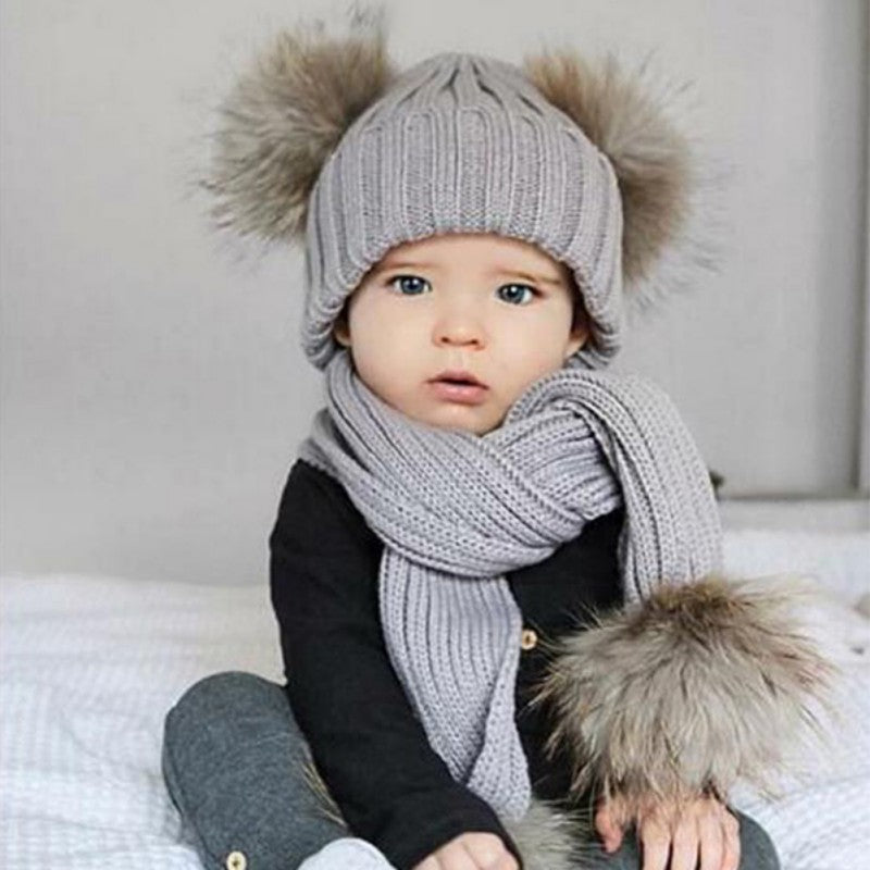 Winter Warm Wool Hat + Scarf Set For Baby