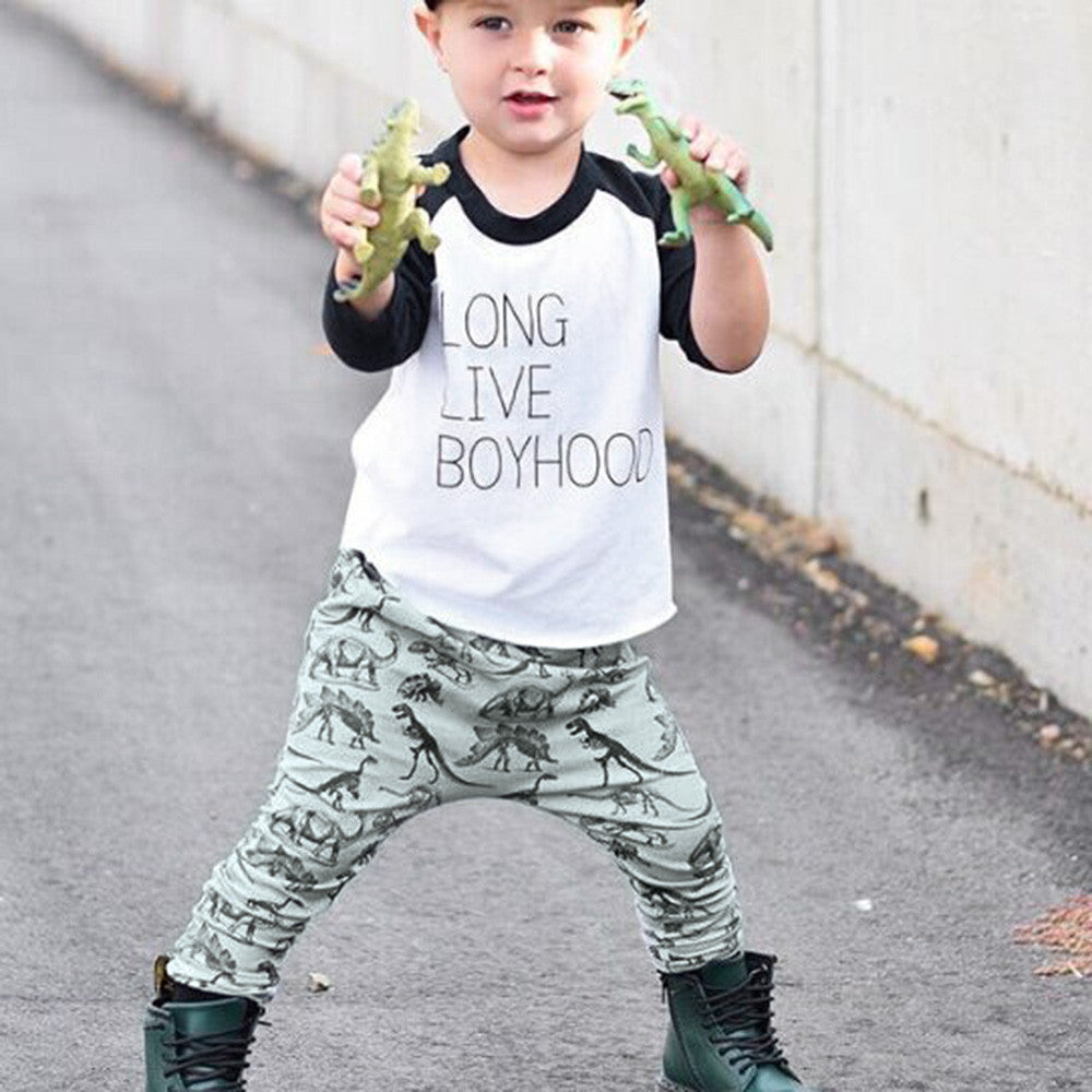 Letter Dinosaur Shirt Tops+Dinosaur Pants for Boys