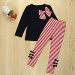 Cute Long Sleeve Bowknot Dress T-Shirt + Stripe Pants Set for Girls