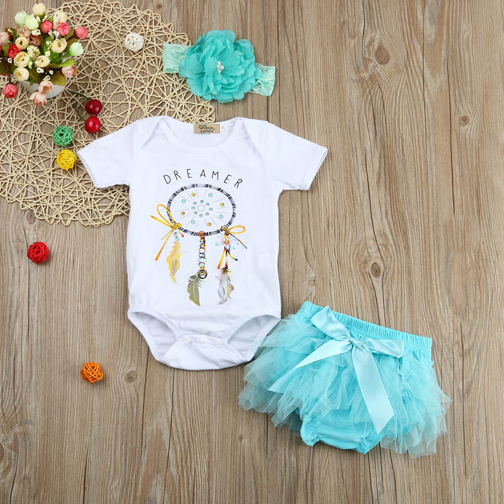 Baby Girl Dreamcatcher Romper+Tutu Short Skirt + Headband