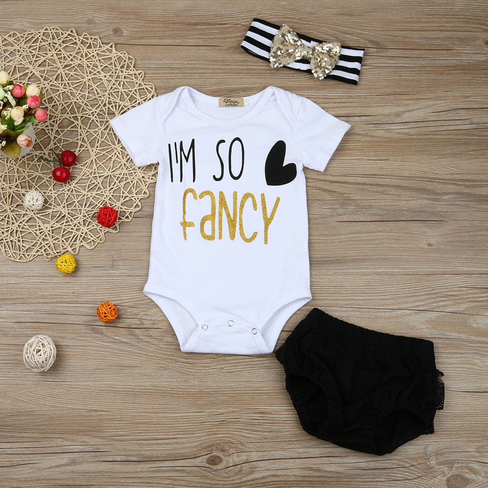 """Im so Fancy"" Romper + Black Lace Shorts + Headband for Baby Girls"