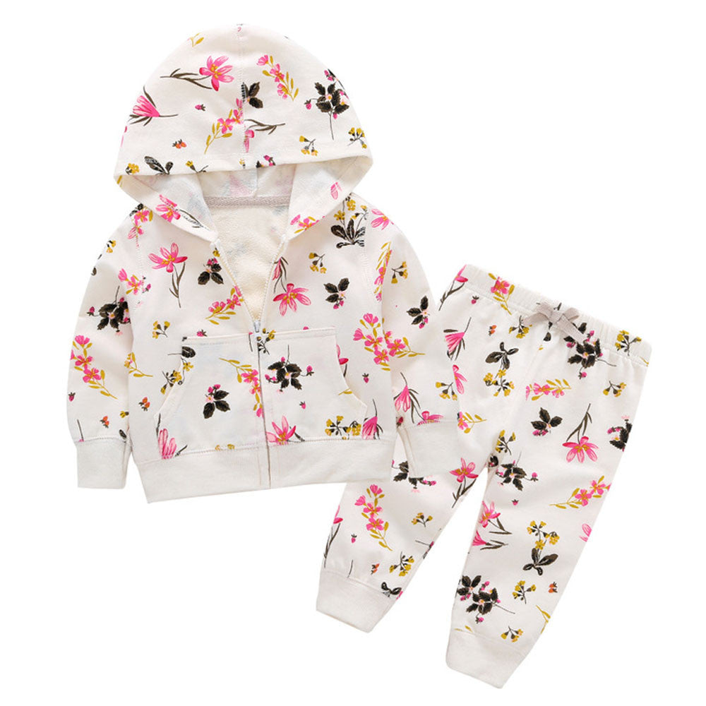 """White Spring Outfit ""  Hoodie + Pants For Baby Girl"