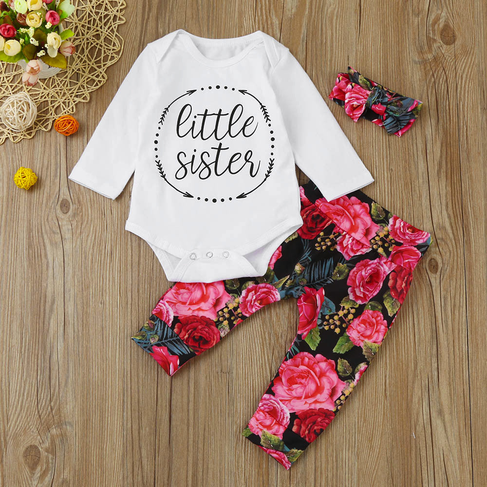 Baby Girl's 3-piece 'LITTLE SISTER' Bodysuit