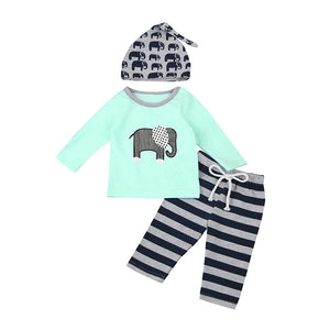 Cute Elephant Printing Top + Pants + Hat for Babies