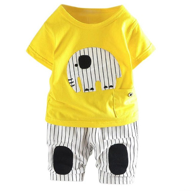 Black Striped Elephant T-shirt + Pants For Baby
