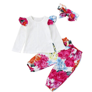 Floral Set  Top +Pants +Headband For Baby Girl