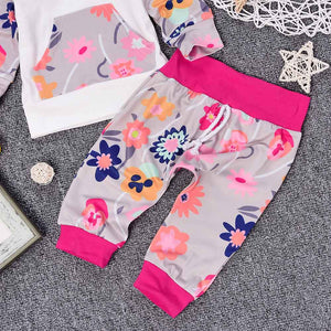 Hooded Top + Flower Pink Pants for Baby Girls