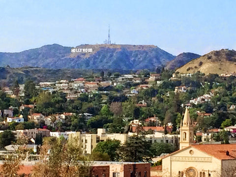 View of the Hollywood Sign from Barnsdall Park
