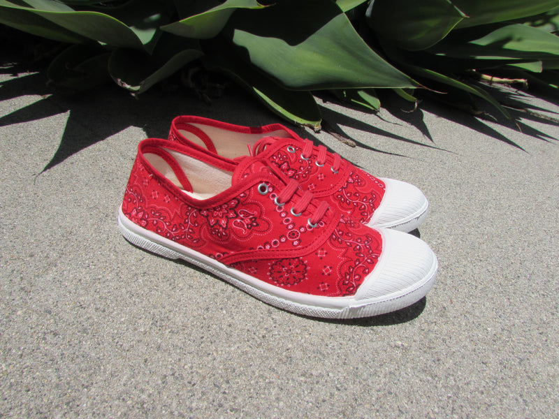 Adeline 1960's Red Bandana print 1 Vintage Fabric Sneaker