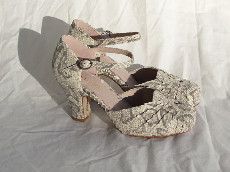Amber , by Miss L Fire is a two part vintage inspired two part mary janes in an authentic 1940's style snake print leather in a gorgeous smoke grey .
