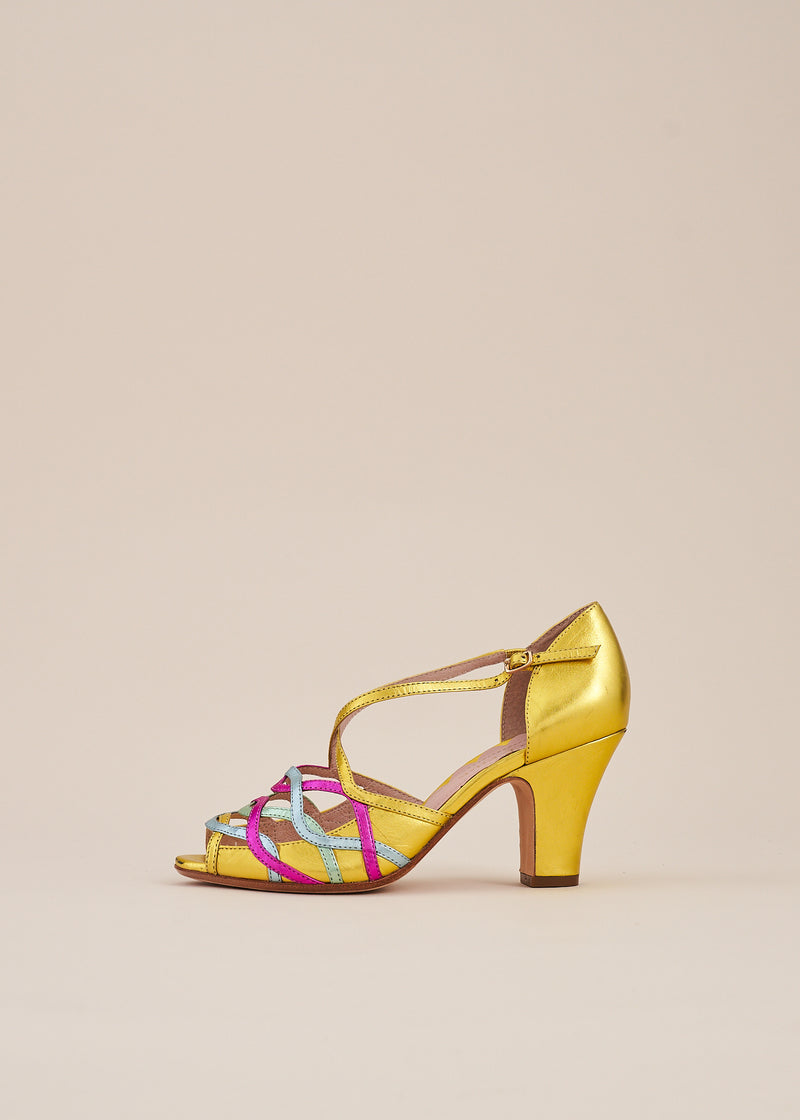 Adele Gold Multi Leather Strappy Heeled Sandal