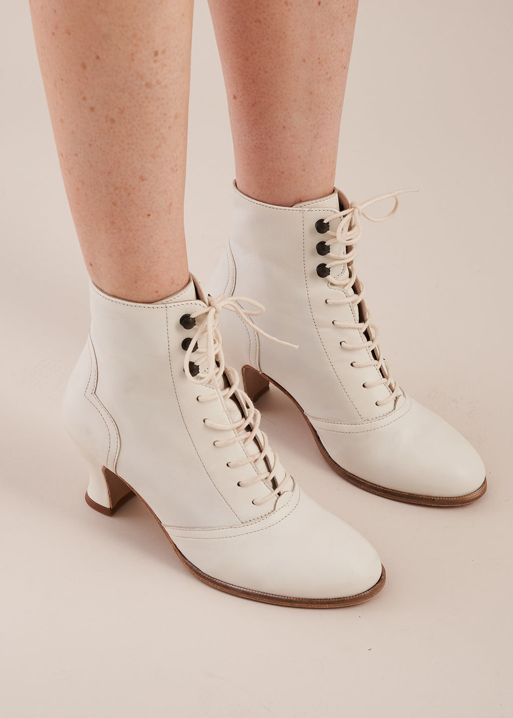 Alexa Cream Leather Lace-up Ankle Boots- LAST PAIR SIZE 40!