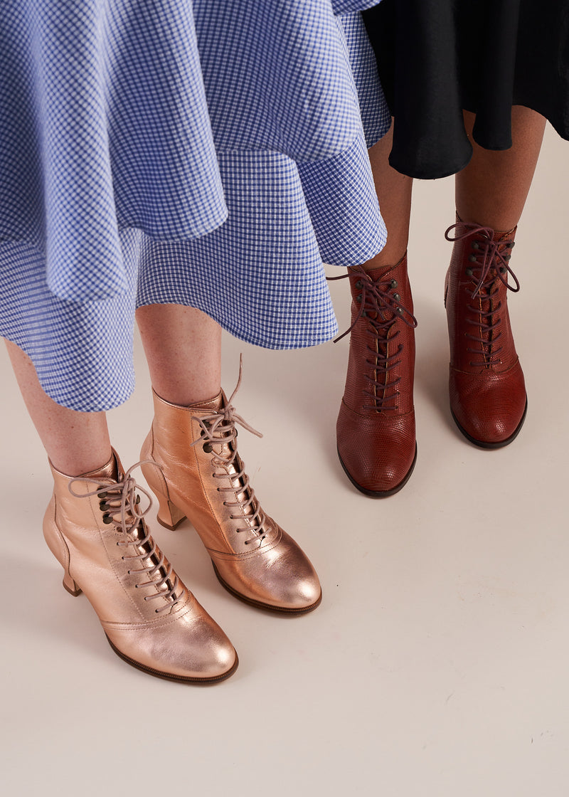 Alexa Rose Gold Leather Lace-up Ankle Boots