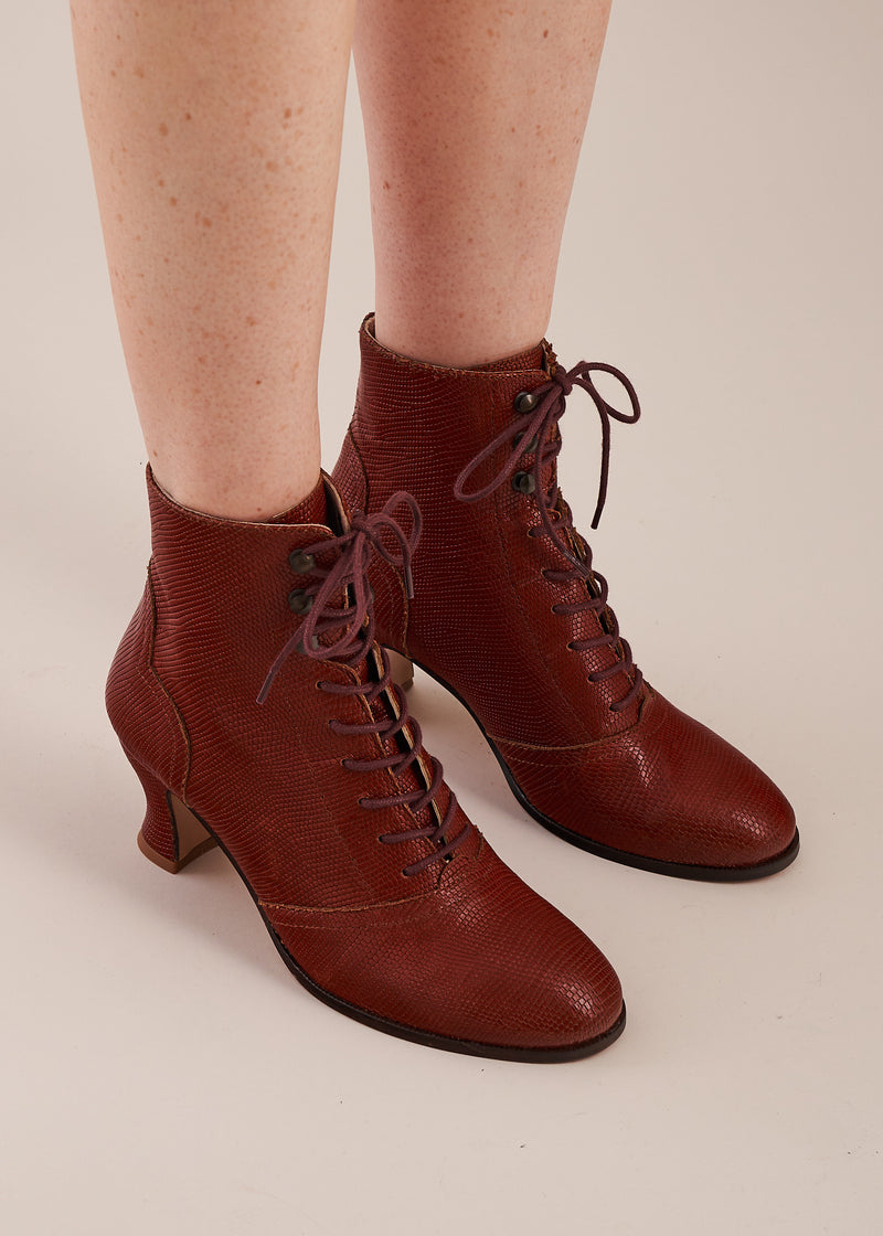Alexa Tan Lizard Leather Lace-up Ankle Boots
