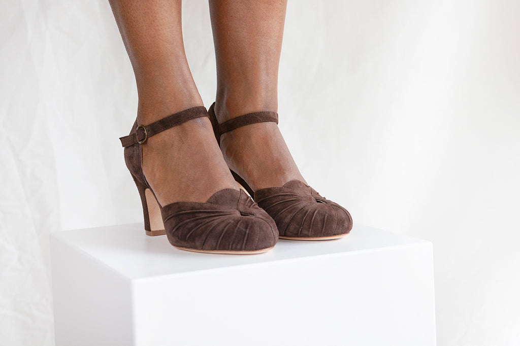 Amber chocolate suede two part Mary Jane with ruched details by London Designer. 3 inch heel.  Miss L Fire