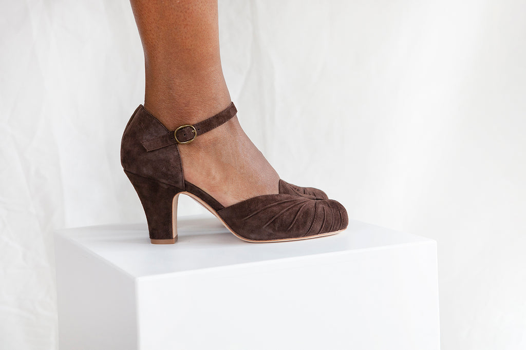Amber Luxe Ankle Chocolate Suede Ankle Strap Shoe