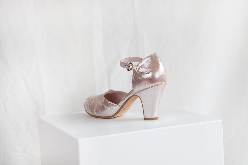 Amber Luxe Copper Sparkle Suede Ankle Strap Shoe