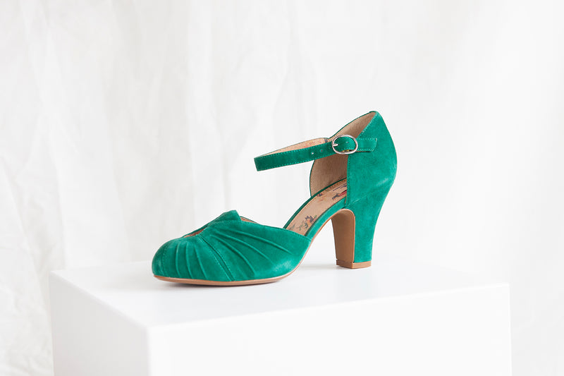 Amber Emerald Green Classic Ankle Strap Heel