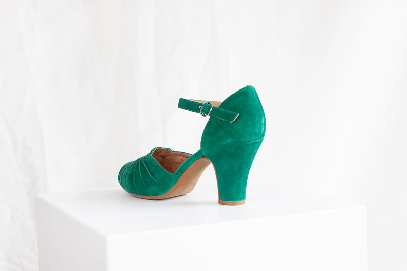 Amber Green Classic Ankle Strap Heel