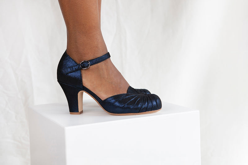 Amber in deep navy blue sparkle suede by Miss L Fire is a vintage inspired two part Mary Jane with ruching detail.
