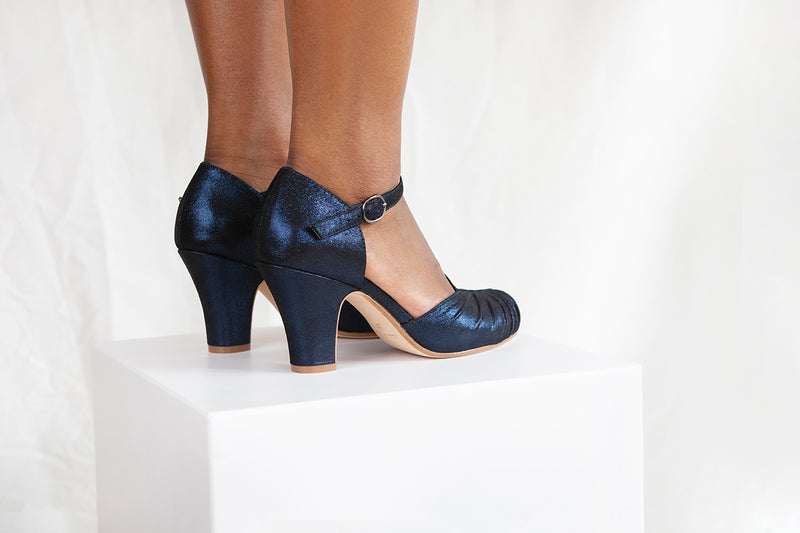 Amber Luxe Dark Blue Sparkle Suede Ankle Strap Shoe