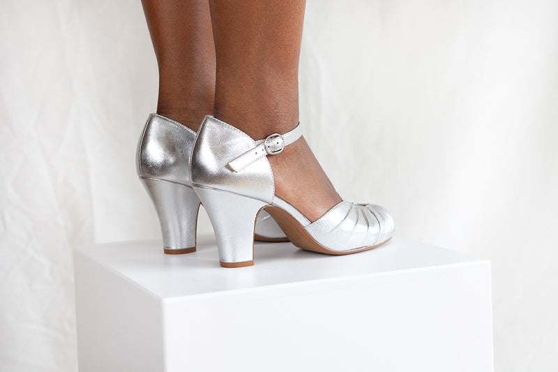 Amber Silver Classic Ankle Strap Heel