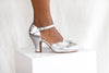 Amber in soft silver metallic leather by Miss L Fire is an elegant, vintage inspired two part bar shoe with three inch heel. Perfect wedding shoe.