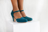 Amber teal suede ankle strap shoe by Designer, Miss L Fire. Vintage inspired, small batch production.