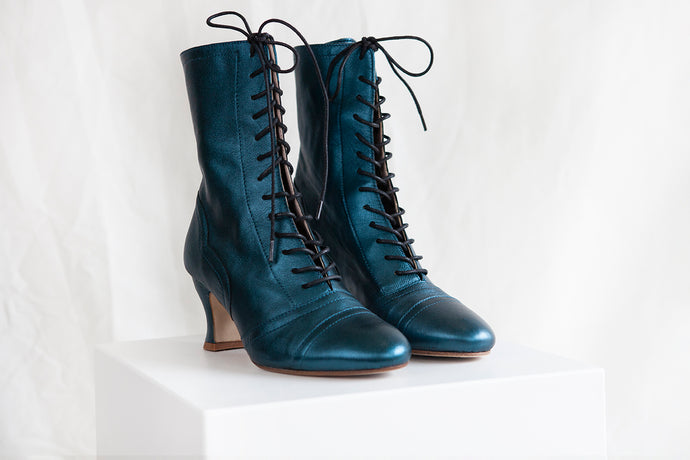 Frida vintage style Victorian lace up mid calf ankle boots in teal metallic leather by Miss L Fire
