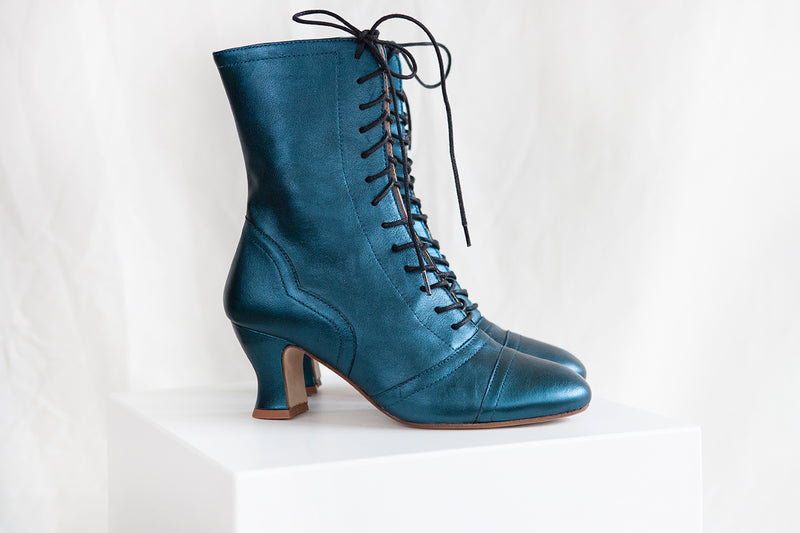 PRE-ORDER Frida Luxe Teal Metallic Leather Lace up Boots