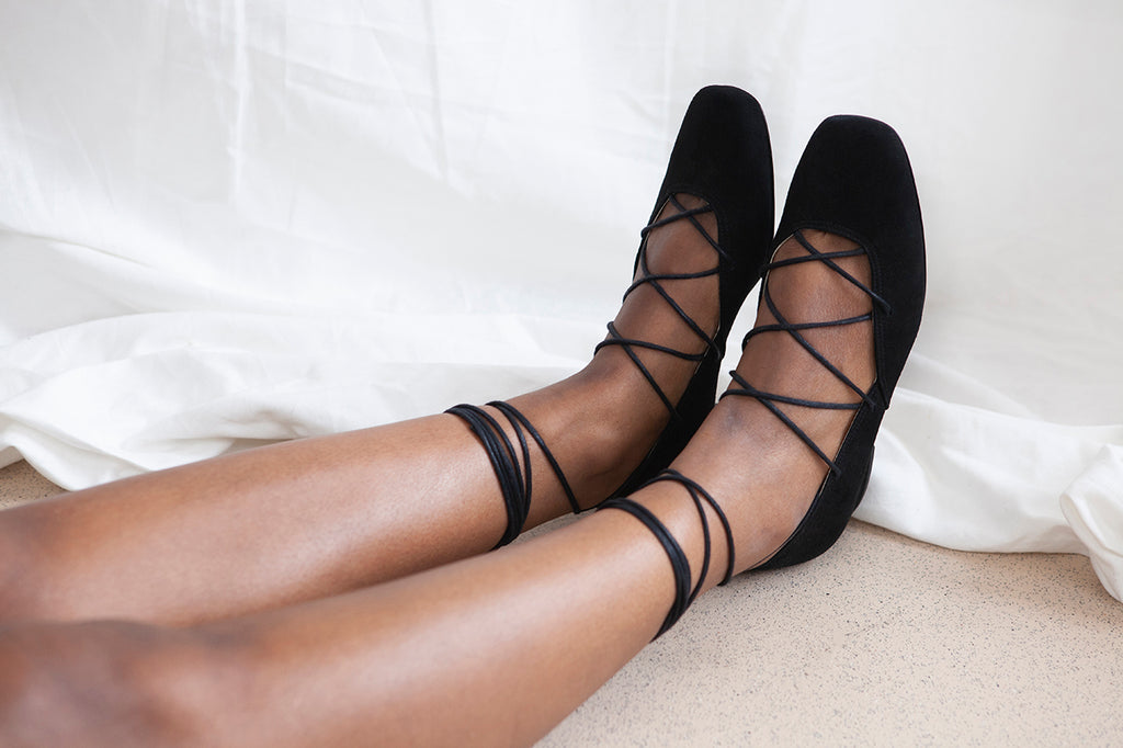 Elinor black suede low heel ballet pumps with criss cross lace detail. Small batch, made in Portugal, by Miss L Fire