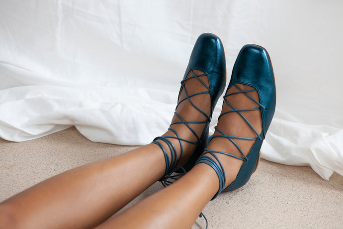 Elinor low heel ballet pump with ankle lace detail in luxury teal metallic leather. By Miss L Fire