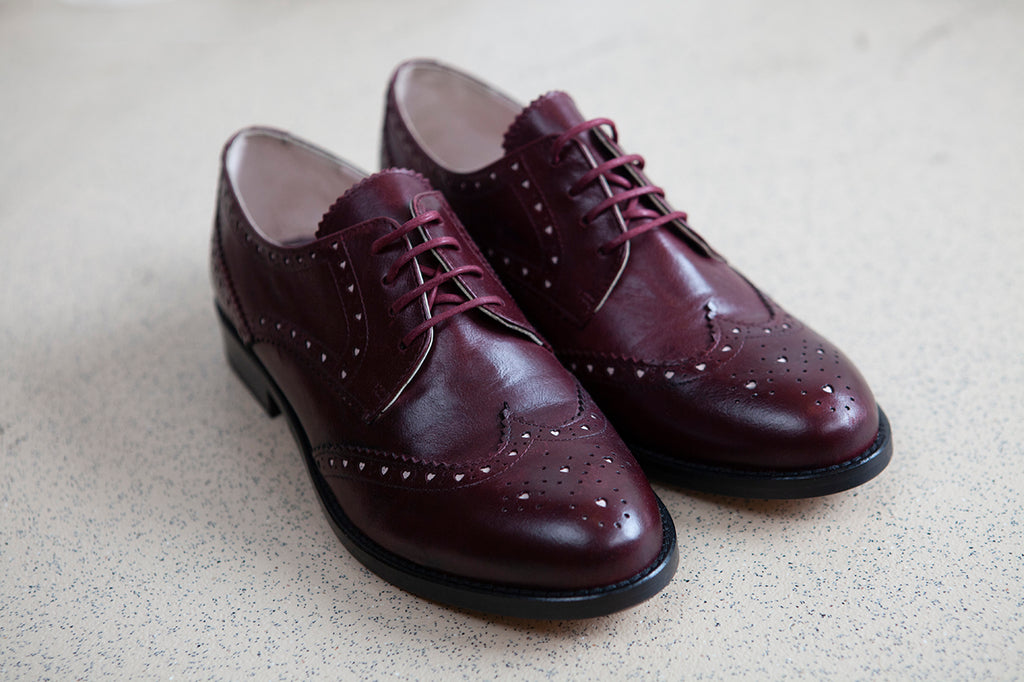 Audrey Wine Lace Up Brogue