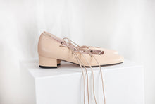 Elinor Nude Pink Leather Lace-up Ballerina Pump