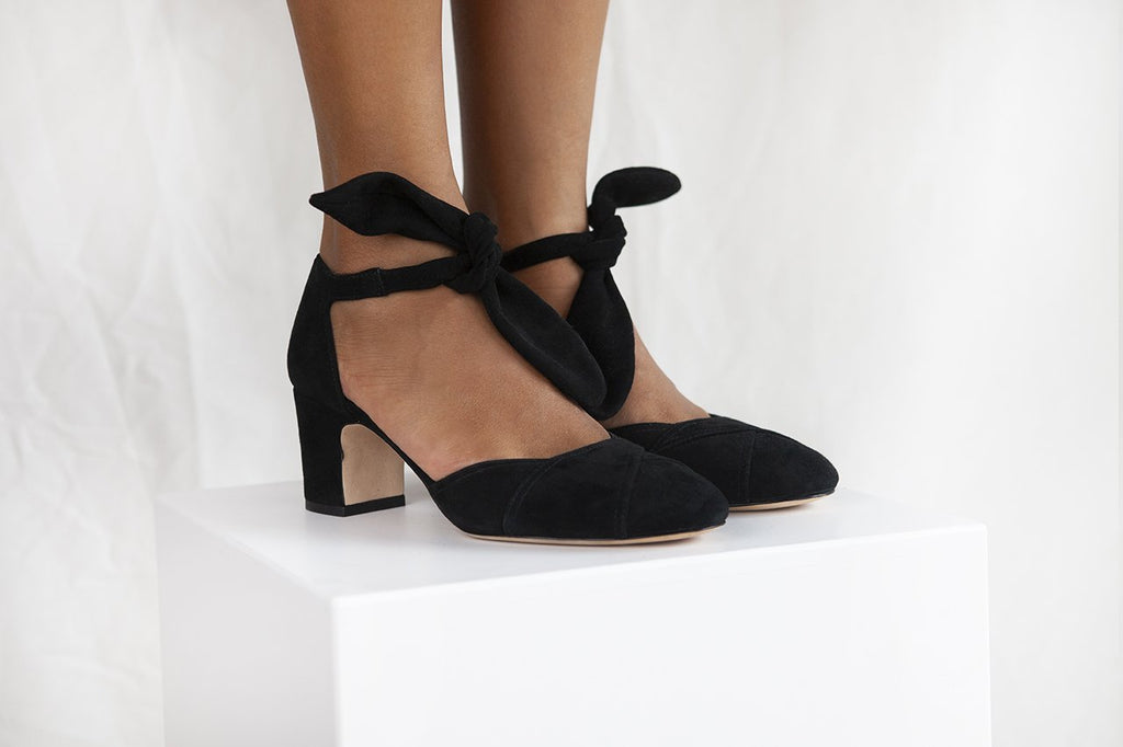 Clarice in soft black suede by Miss L Fire is a closed toe , two part shoe with ankle tie strap and 2.5 inch heel. Stylish and comfortable. Vintage inspired.