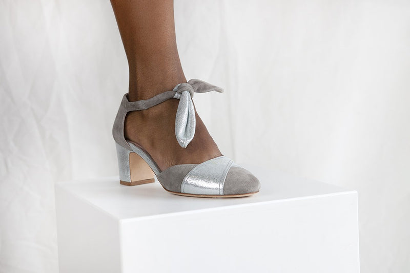 Clarice by Miss L Fire is a soft grey suede and silver closed  two part shoe with elegant ankle tie strap. Vintage inspired, ethically made.