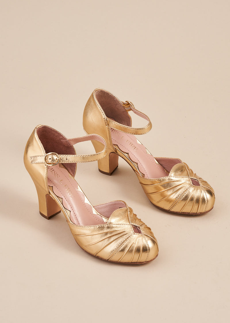 Amber Luxe Gold Ankle Strap Heel