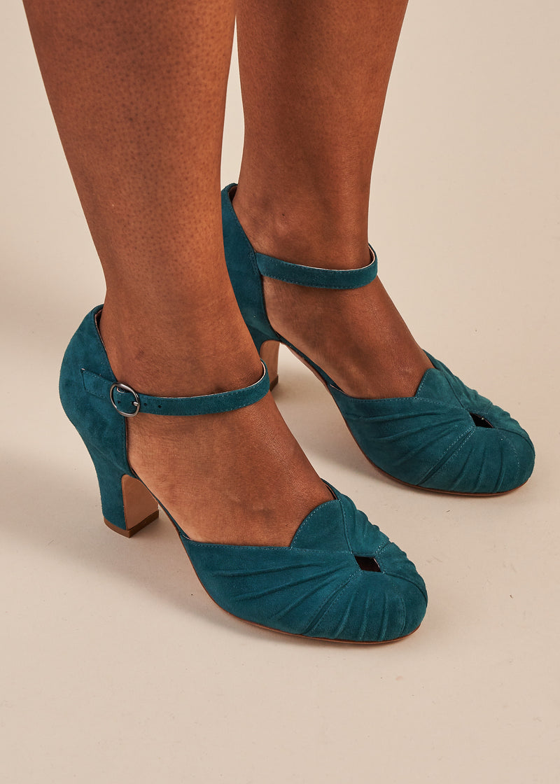 Amber Luxe Teal Suede Ankle Strap Shoe