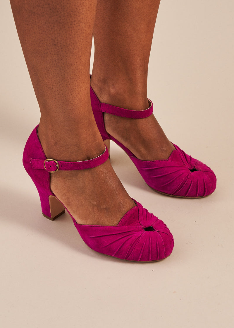 Amber Luxe Violet Suede Ankle Strap Shoe