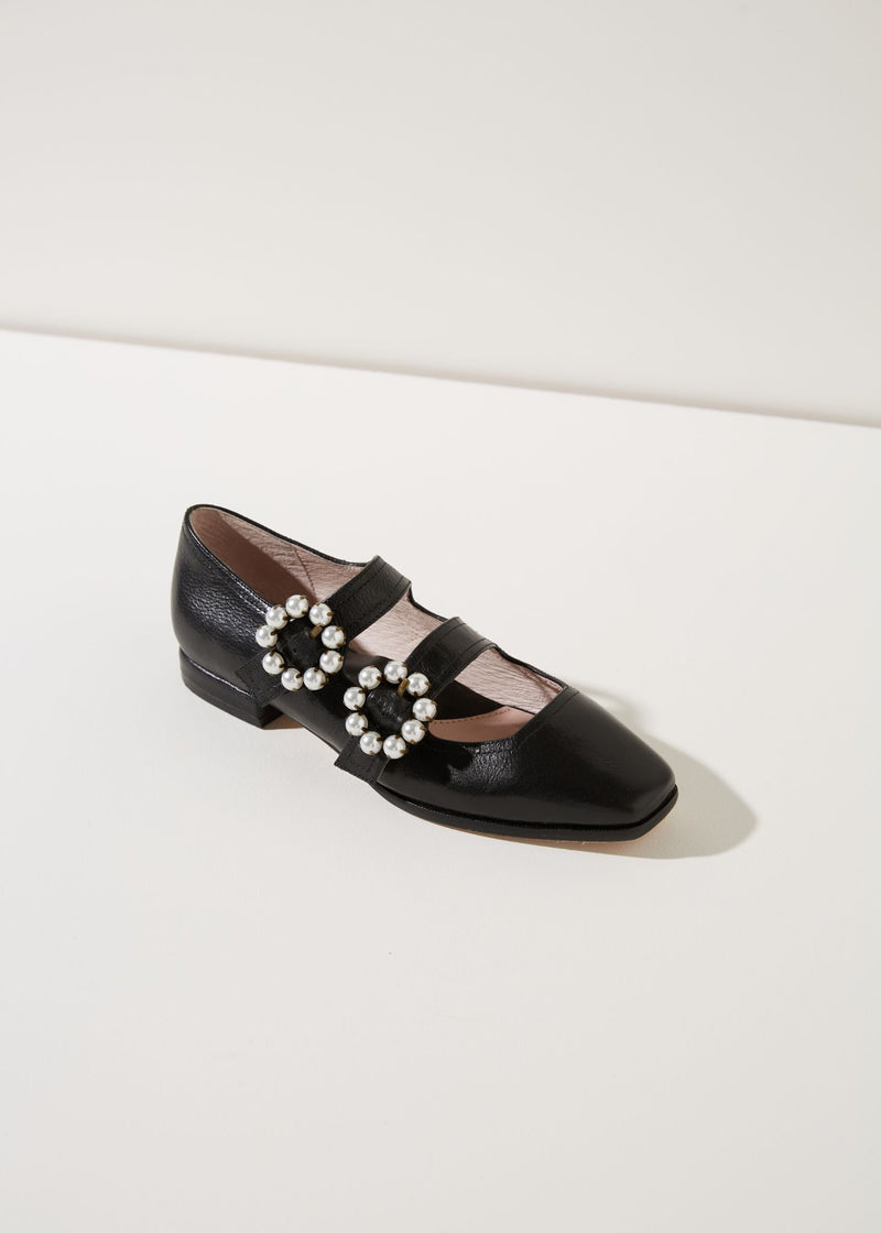 Molly Black Leather Double Strap Flat with Pearl Buckle