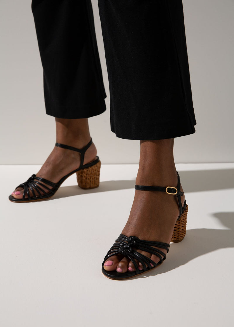 Florentina Black Knot Sandal with Basket-Weave Heel
