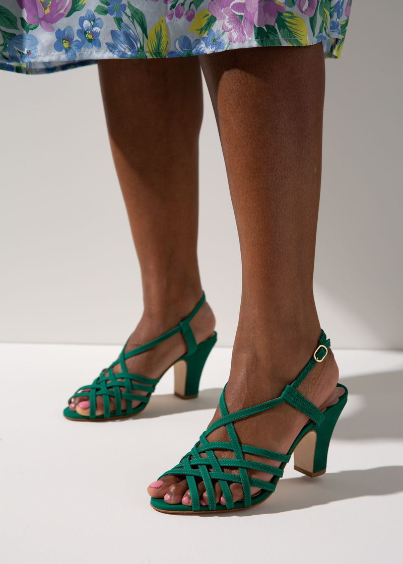 Jasmine Kelly Green Interwoven X-Over Sandal