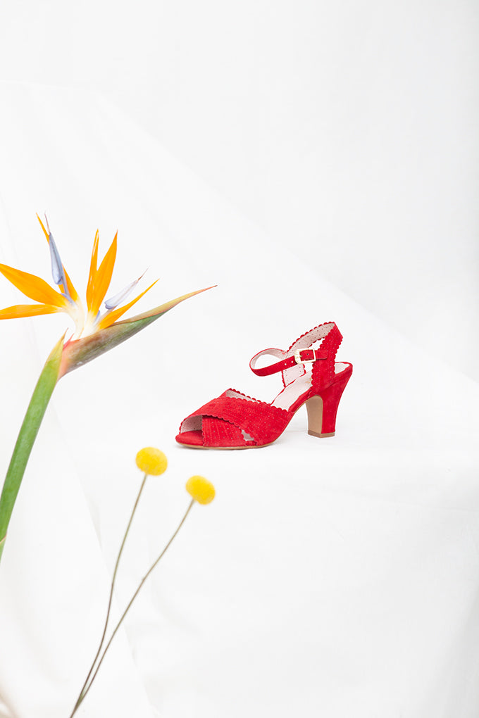 Beatriz Red Peep Toe Heel Sandal