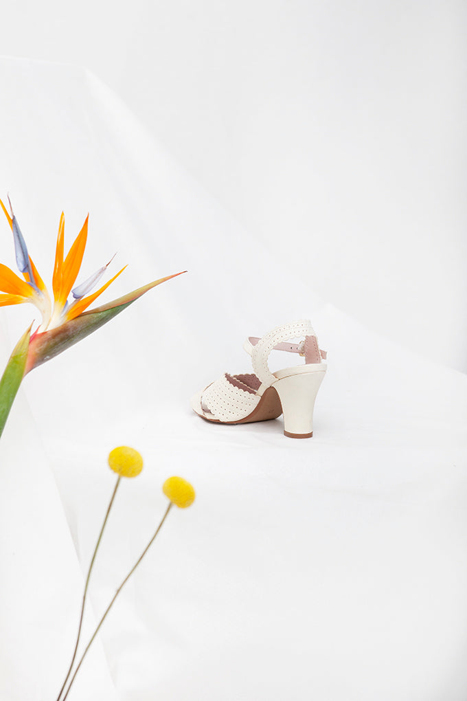 Beatriz White Peep Toe Heel Sandal- LAST PAIRS SIZES 41 & 42!
