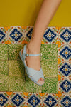 Brigitte Blue Low Wedge Sandal- LAST PAIR SIZE 41
